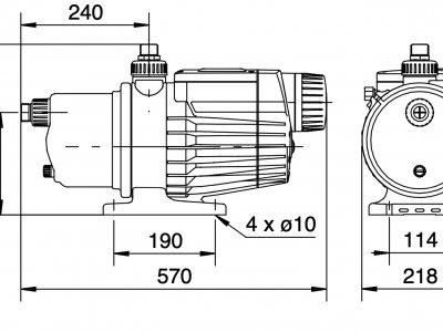 Габаритный чертеж насосной установки Grundfos MQ